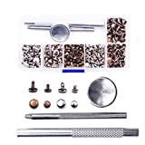 THREEMAO 120 Set Leather Rivets Double Cap Rivet Tubular Metal Studs with Fixing Tool Kit for Leather Craft Repairs Decoration, 2 Colors, 2 Sizes