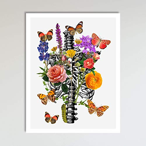 (Rib Cage With Flowers, Abstract Anatomy and Flowers Floral Wall Art Decor Art Print Poster Modern Contemporary Boho Home Decor 11x14 Inches, Unframed)