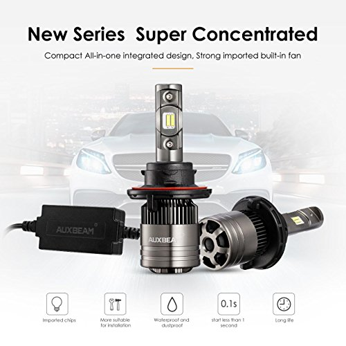 (Auxbeam LED Headlight Bulbs F-T1 Series H13 LED Headlight Bulbs with 2 Pcs of Led Conversion Kits 70W 8000lm LED Chips Hi-Lo Beam with Temperature Control)
