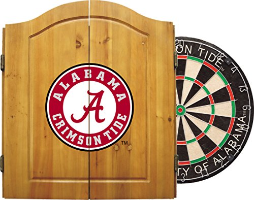 Imperial Officially Licensed NCAA Merchandise: Dart Cabinet Set with Steel Tip Bristle Dartboard, Alabama Crimson Tide (Bristle Dartboard Wood Cabinet)