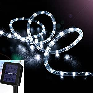 Solar Rope Lights, VSOAIR 39ft/12M 100LED Waterproof Copper Tube Wire String Lights for Garden,Yard, Path, Fence, Stairs, Backyard, Patio Decorative (Cold White)