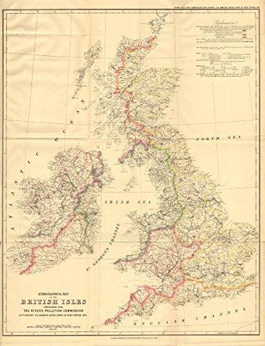 Amazon.com: British Isles Hydrographical map. Drainage ...
