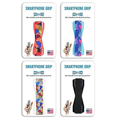 - LoveHandle Grip for Smartphone and Mini Tablet - Swirl Design Elastic Strap with Colored Base - 4 Piece Value Pack