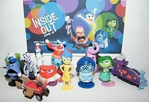 Disney Inside Out Movie Figure Set Toy Playset Of 12 With Joy  Fear  Anger  Disgust  Sadness  Bing Bong  Rainbow Unicorn  Jangles The Clown Etc And Special Collectible