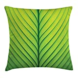 lime green couch Ambesonne Green Throw Pillow Cushion Cover, Wavy Striped Texture of a Green Leaf Macro Close Up Graphic Fresh Plant, Decorative Square Accent Pillow Case, 18 X 18 Inches, Lime Green Apple Green