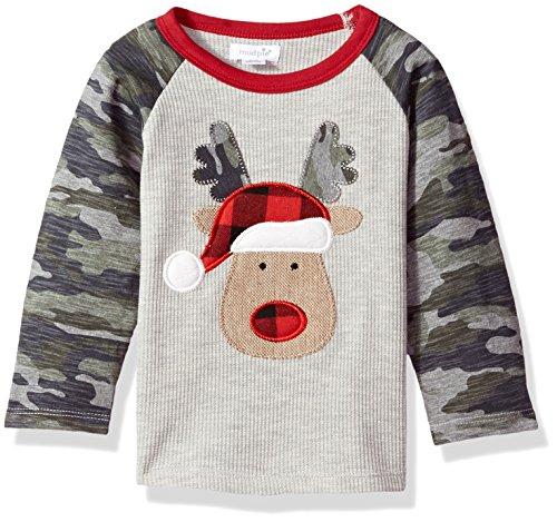 Mud Pie Baby Boys Toddler Christmas Camo Long Sleeve Waffle Weave Raglan T-Shirt