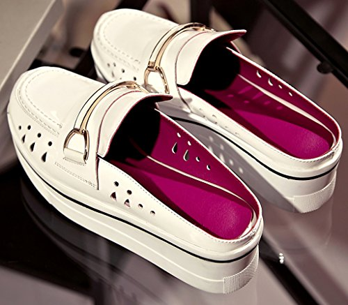 Cacreative Mule Womens 6 Toe on Closed White Shoes 5CM Slip Wedge Heel Calaier v5wRq1dcnq