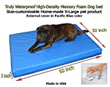 Home-made Truly Waterproof Customizable 50″x32″x5″ Memory Foam Premium Pacific Blue Dog Bed Review