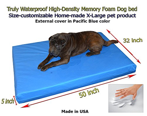 Home-made Truly Waterproof Customizable 50″x32″x5″ Memory Foam Premium Pacific Blue Dog Bed For Sale