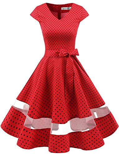Gardenwed Women's 1950s Rockabilly Cocktail Party Dress Retro Vintage Swing Dress Cap-Sleeve V Neck Red Small Black Dot XL -