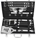 grilljoy BBQ Grill Tool Set, 25pcs Stainless Steel BBQ Accessories in Aluminum Case, Premium Complete Outdoor BBQ Utensil Set