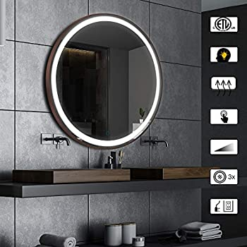 Image of AI-LIGHTING Bathroom Mirror with Lights Large Dimmable LED Makeup Vanity Brushed Metal Mirror with Lights Touch Button Anti-Fog (Brushed Bronze, 32inch)
