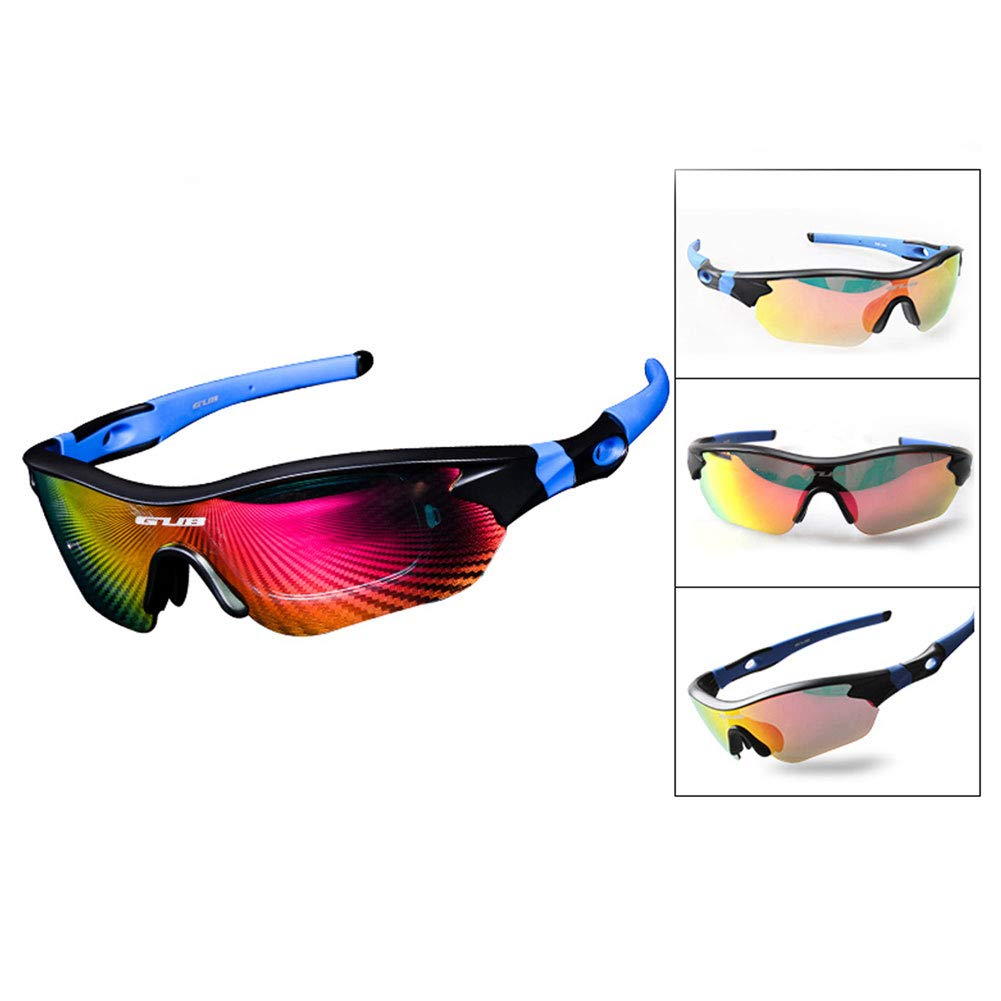 HeavFYj Outdoor Cycling 3 Color Lens Sports Sunglasses Anti UV Light Fishing Goggles