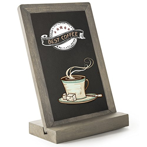 10-Inch Vintage Gray Wood Framed Tabletop Chalkboard Place Card Sign with Removable Stand by MyGift