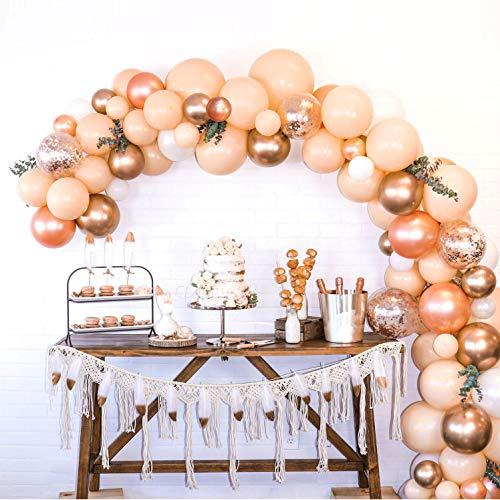 Balloon Arch and Garland Kit, Blush Pink, Rose Gold, Chrome Gold, White Balloon, 16 Feet Long Decorating Strip, 90 Premium Balloons, Pearl SM-XL, Balloon Tying Tool, Glue Dots, Instruction (Balloons Giant Blush)