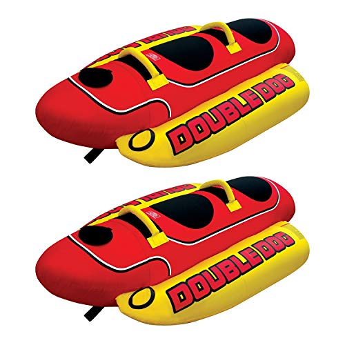 - AIRHEAD HD-2 Hot Dog Double Towable Inflatable Lake Tube 1-2 Person (2 Pack)
