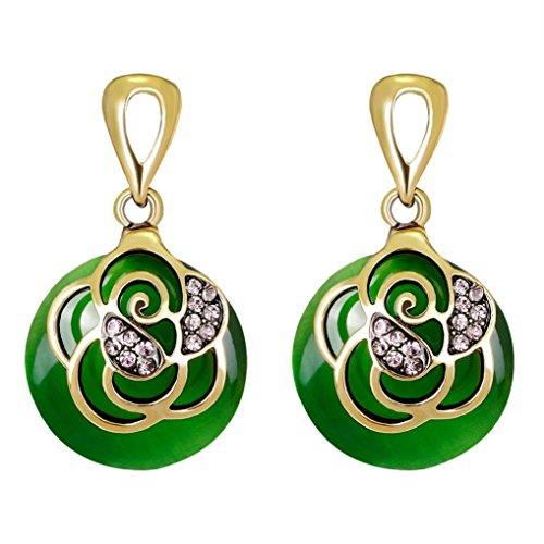(Yeefant 1 Pair Round Shape Diamond Encrusted Love Heart Jewelry Earrings for Woman,Green)