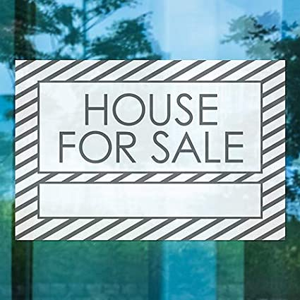 Stripes White Window Cling 27x18 House for Sale CGSignLab 5-Pack
