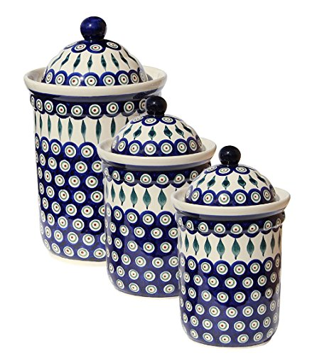 Polish Pottery 3 Pc Canister Set From Zaklady Ceramiczne Boleslawiec (Pottery Canister Set)