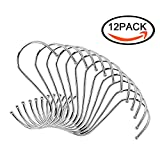 BITTO S Hooks small Heavy Duty Stainless Steel S Shaped Hooks Polished Brushed Metal Round Hanging Hooks Installation Designed Rganizing Utensils Kitchen Tools for Pots Pans ect 12 pack (silver)