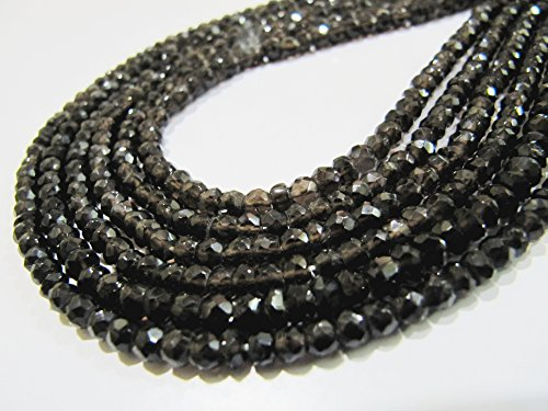 AAA Quality Natural Smoky Quartz Rondelle Faceted beads 3.5 to 4mm Gemstone Strands 13 inches Long Sold in Wholesale Rates ()