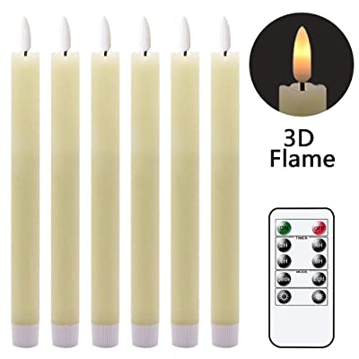 GenSwin Flameless Ivory Taper Candles Flickering with 10-Key Remote, Battery Operated Led Warm 3D Wick Light Window Candles Real Wax Pack of 6, Christmas Home Wedding Decor(0.78 X 9.64 Inch): Home Improvement