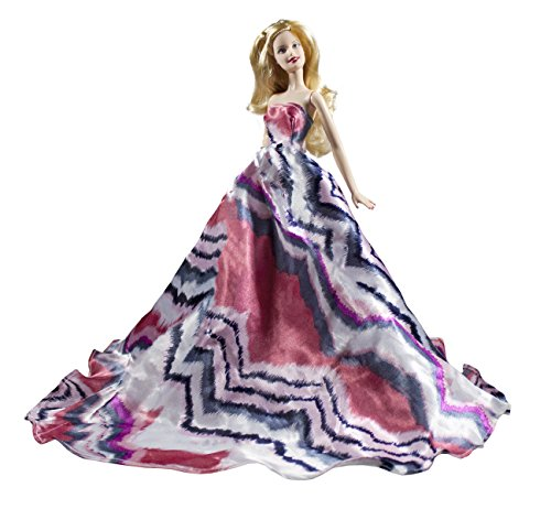 Pink & Black Chevron Pattern Stripes Style Silk Ball Gown Fits for Barbie Doll ()