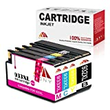 Mony Compatible HP 932 933 XL Ink Cartridges (1 Black, 1 Cyan, 1 Magenta, 1 Yellow) Used in HP Officejet 6600 6700 7610 7612 7110 6100 Printers