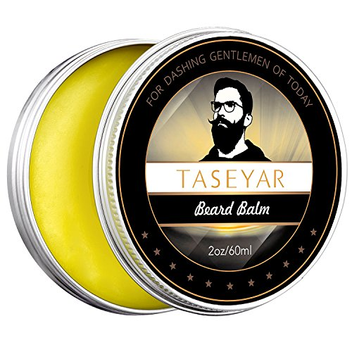 Beard Balm 2oz, TASEYAR Strong Hold Natural Moustache Balm Leave in Wax Conditioner Beard Shaping Tool for Men-Styles, Softens, Strengthens, Thickens,Tames Facial Hair and Beard Growth,Gift for Him