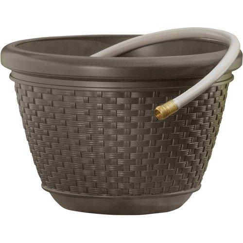 100' Resin Wicker Hose Pot w/ Drain Holes, Hose Storage, 18