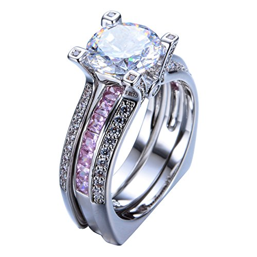 Amazon Com Bjp Ring Luxury Female Pink Ring Set Bridal Sets Gold