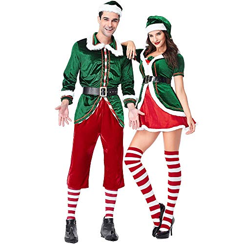 Konvinit Christmas Men Women's Couples Costume Dress Cosplay Xmas Deluxe Clothes