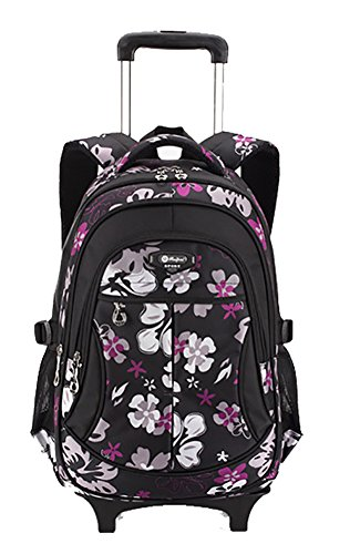 Meetbelify Rolling Backpack With Wheels Kids Luggage Boys Trolley School Bags Girls Black