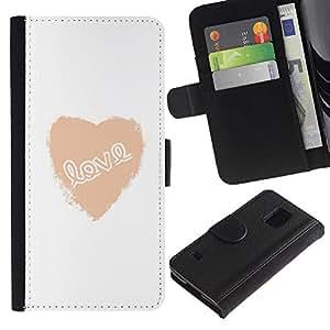 Be Good Phone Accessory // Caso del tirón Billetera de Cuero Titular de la tarjeta Carcasa Funda de Protección para Samsung Galaxy S5 V SM-G900 // Love Heart White Text Minimalist Val