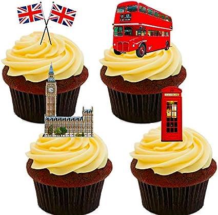 Decoraciones para tarta con diseño de Gran BretañaUnion Jack, bus de Londres, Big Ben, etc.Decoraciones para tarta comestibles. Se sostienen de pie., Pack de 24
