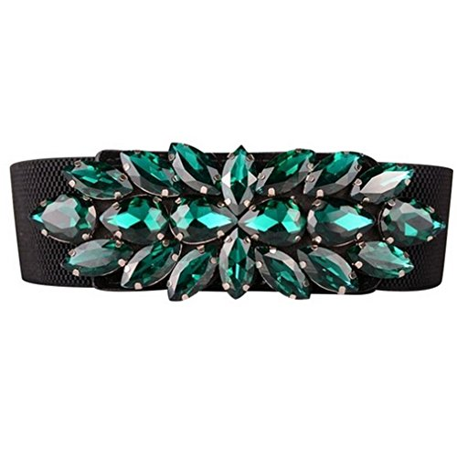 Multicolored Austrian Crystal - Gorgeous Austrian Crystal Strap Multi-Colored Wild Cintos High Designer Belts For Women green