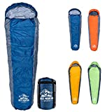 Buck Mountain Sports 10 Degree F Mummy Sleeping Bag for Camping, Tall Sleeping Bag with Hood for Cold Weather, Camp Gear for Hiking and Backpacking (Blue)