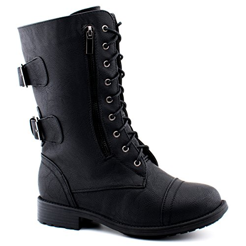 Premier Standard Round Toe Military Lace up Knitted Ankle Cuff Low Heel Combat Boots Premier Black P*