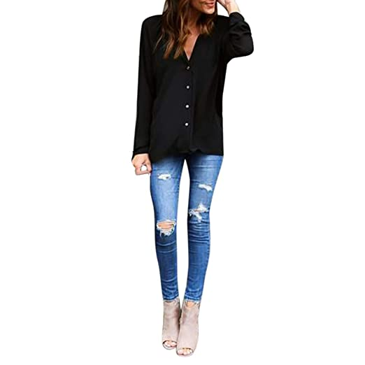 Blusa Casual De Gasa, Blusa Mujer Chiffon Respirable Camisa Punto Escote V Ocasionales Bodycon Pullover En Oferta Blusas De Mujer Elegantes: Amazon.es: Ropa ...
