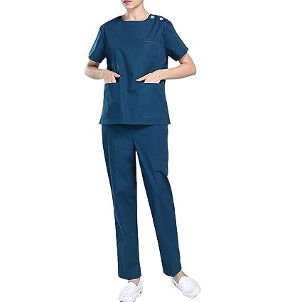Wangjie Uniforme Médico Ropa Quirúrgica Suave Cómodo para Mujer Enfermera Sanitaria con Camisa y Pantalones Semi