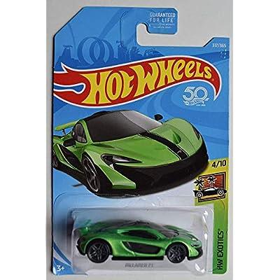 DieCast HOT Wheels Exotics 4/10, Green McLAREN P1 317/365 50TH Anniversary Card: Toys & Games
