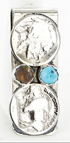Navajo Natural Money 350Tag Nickel Old Buffalo Native Silver Clip Coin Style 2 Turquoise Vintage zq7zg0