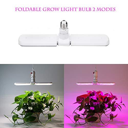 LED Grow Light Bulb, E27 75W Foldable Plant Growing Lamp, Sunlike & Red/Blue 2 Modes Full Spectrum for Indoor Plants Veg and Flower AC90-265V