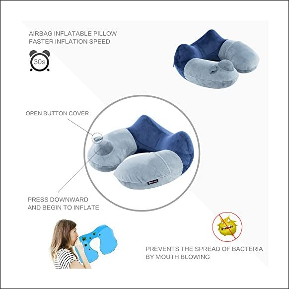 BestMaxs Travel Pillow, Travel Pillow for Airplanes with Multifunctional Travel Package Hump Design Travel Accessories (Grey+Blue Press Pillow)