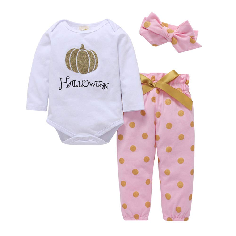 Newborn Halloween Sets,Jchen(TM) Infant Baby Boys Girls Halloween Pumpkin Romper Pants Outfit Clothes for 0-24 Months (Age: 18-24 Months)