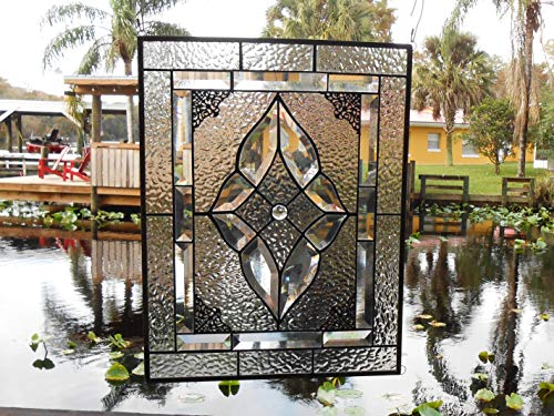 - Stained Glass Window Panel, Neutral Gray & Beveled Glass Art, Traditional Stained Glass Window Transom