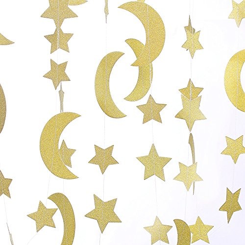 ZOOYOO Glitter Paper garland Moon and Stars ornaments ,For a variety of activities and party - Glitter Star Ornament