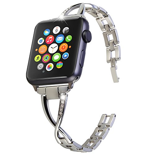 Greatfine Apple Watch Band 38mm iWatch Strap stainless steel featuring crystals inset at bracelet Replacement Watchband for Apple Watch Sport Edition - 38MM (Beautiful Girl With Dress)
