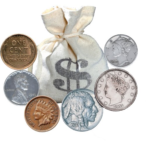 American Coin Treasures Bankers Bag of over 60 Historic Coins