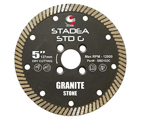 Stadea SBD103C Diamond Saw Blade 5-Inch Continuous Turbo For Grinder - Granite Dry Cutting, 8 MM ()
